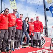 © Maria Muina I MAPFRE. Julia Casanueva, presidenta de la Real Federación Española de Vela visita al equipo español de la Volvo Ocean Race, MAPFRE, en Newport.