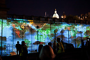 """""""In search of vanished blood"""" by Malani. Projection on the Scottish National Gallery commemorating the beginning if WW1."""
