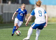 Vicky Jones (Everton Ladies) watched by Nicki Gears (Durham Womens FC) during the FA Women's Super League match between Durham Women FC and Everton Ladies at New Ferens Park, Belmont, United Kingdom on 30 August 2015. Photo by George Ledger.