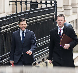 Downing Street, London, March 8th 2016. Wales Secretary Stephen Crabb and Attorney General Jeremy Wright  arrive for the weekly UK cabinet meeting at Downing Street. ©Paul Davey<br /> FOR LICENCING CONTACT: Paul Davey +44 (0) 7966 016 296 paul@pauldaveycreative.co.uk
