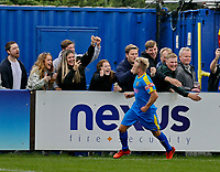 Football - 2021 / 2022 Emirates FA Cup - First Round Qualifying - Bootle vs. FC United of Manchester - Berry Street Garage Stadium - Saturday 4th September 2021<br /> <br /> Ben Hodkinson of Bootle celebrates with the home fans after scoring from the penaly spot to make it 1-2 in the second half at the Berry Street Garage Stadium.<br /> <br /> COLORSPORT/Alan Martin