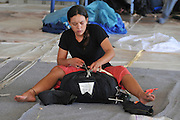 Israel, Habonim Skydive centre Folding the parachute after a jump