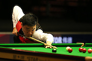 China's Ding Junhui in action during his match against Neil Robertson of Australia. . Betvictor Welsh Open snooker 2016, day 5 at the Motorpoint Arena in Cardiff, South Wales on Friday 19th Feb 2016.  <br /> pic by Andrew Orchard, Andrew Orchard sports photography.