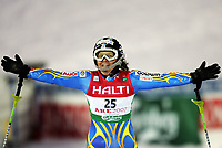 Anja Paerson (SWE) freut sich ueber ihren 2. Weltmeistertitel. © Valeriano Di Domenico/EQ Images