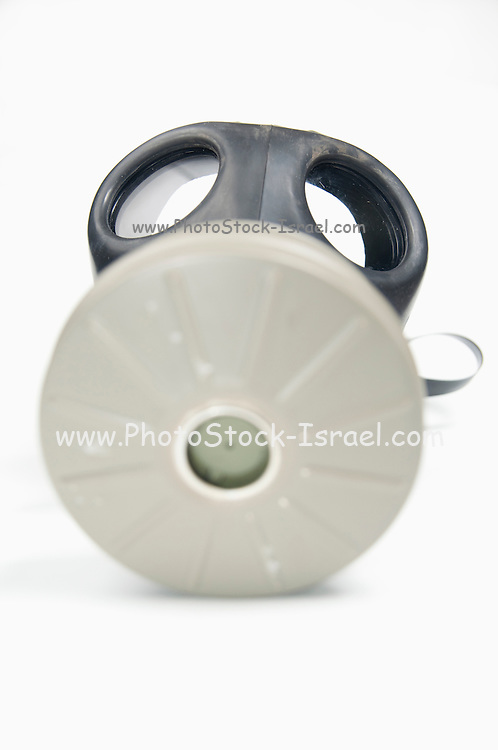 Cutout of a Gas Mask on white background front view,