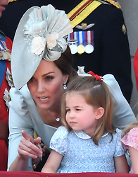 Prince George attends Trooping the Colour 2018 at Buckingham Palace, London, UK, on the 9th June 2018. 08 Jun 2018 Pictured: The Duchess of Cambridge and Princess Charlotte attend Trooping the Colour 2018 at Buckingham Palace, London, UK, on the 9th June 2018. Photo credit: James Whatling / MEGA TheMegaAgency.com +1 888 505 6342