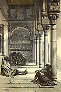 Galerie du Patio de los Abrayanes [people sit in the shade at the Alhambra, Granada, Andalusia, Spain] Page illustration from the book 'L'Espagne' [Spain] by Davillier, Jean Charles, barón, 1823-1883; Doré, Gustave, 1832-1883; Published in Paris, France by Libreria Hachette, in 1874