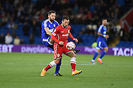 Adam Le Fondre of Cardiff city holds off Cole Skuse of Ipswich.  Skybet football league championship match, Cardiff city v Ipswich Town at the Cardiff city stadium in Cardiff, South Wales on Tuesday 21st October 2014<br /> pic by Andrew Orchard, Andrew Orchard sports photography.