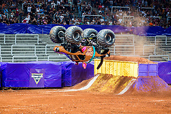 December 16, 2017 - Sao Paulo, Sao Paulo, Brazil - Scooby-Doo makes a backwards flip during a round of racing. Monster Jam was held at Corinthians Stadium, in Sao Paulo, Brazil. (Credit Image: © Paulo Lopes via ZUMA Wire)
