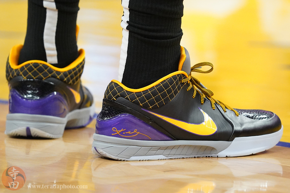 February 27, 2020; San Francisco, California, USA; Detail view of the Nike shoes worn by Los Angeles Lakers forward Anthony Davis (3) during the first quarter against the Golden State Warriors at Chase Center.