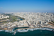 Aerial Photography of the old Tel Aviv harbour, now entertainment centre, Israel