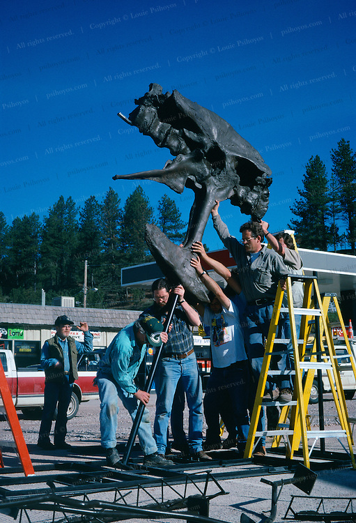 """T. Rex, """"tyrant lizard king,"""" was excavated and prepared by the Black Hills Institute and named after the discoveror, Stan Sacrison.  Larson and company raising Stan on Main Street, Hill City, South Dakota."""