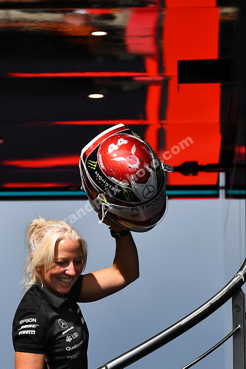 Lewis Hamilton´s P.A. / trainer  Angela Cullen with his helmet after practice for the 2019 British Grand Prix in Silverstone. Photo: Grand Prix Photo