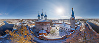 Aerial view of Ivanovo city during snow day, Russia
