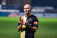 Marine defender David Raven (6) celebrates winning today during the The FA Cup match between Marine and Havant & Waterlooville FC at Marine Travel Arena, Great Crosby, United Kingdom on 29 November 2020.
