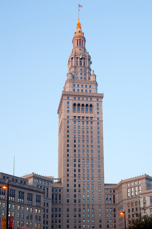 Public Square, downtown, Cleveland, Ohio, United States - April 30, 2011: Close-up of the Terminal Tower building,