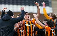 Hull City players celebrate after becoming League One champions<br /> <br /> Photographer Alex Dodd/CameraSport<br /> <br /> The EFL Sky Bet League One - Hull City v Wigan Athletic - Saturday 1st May 2021 - KCOM Stadium - Kingston upon Hull<br /> <br /> World Copyright © 2021 CameraSport. All rights reserved. 43 Linden Ave. Countesthorpe. Leicester. England. LE8 5PG - Tel: +44 (0) 116 277 4147 - admin@camerasport.com - www.camerasport.com