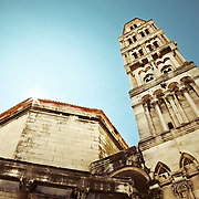 A view of the Diocletian mausoleum and bell tower of the Cathedral of St. Duje (St. Doimus) in Split, Croatia.<br />