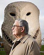 """John Pappajohn, with sculpture from the """"Moonrise East"""" series by Ugo Rondinone.  Shot in the John and Mary Pappajohn Sculpture Park, Des Moines, IA for Apollo Magazine.  2009-10"""