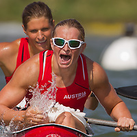 Yvonne Schuring (front) and Viktoria Schwarz (back) from Austria celebrate their victory in the K2 women Kayak 500m final of the 2011 ICF World Canoe Sprint Championships held in Szeged, Hungary on August 20, 2011. ATTILA VOLGYI