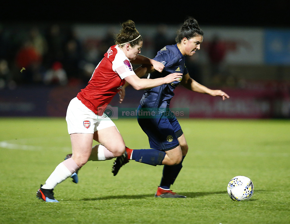 February 7, 2019 - London, England, United Kingdom - Martha Harris of Manchester United Women holds of Emma Mitchell of Arsenal .during FA Continental Tyres Cup Semi-Final match between Arsenal and Manchester United Women FC at Boredom Wood on 7 February 2019 in Borehamwood, England, UK. (Credit Image: © Action Foto Sport/NurPhoto via ZUMA Press)