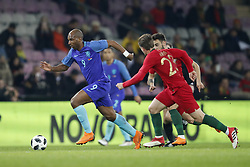 (L-R) Ryan Babel of Holland, Adrien Silva of Portugal, Bruno Fernandes of Portugal during the International friendly match match between Portugal and The Netherlands at Stade de Genève on March 26, 2018 in Geneva, Switzerland