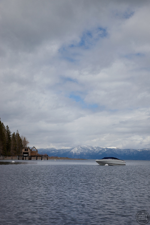 """""""Boat on Lake Tahoe 3"""" - This boat was photographed on the West shore of Lake Tahoe."""