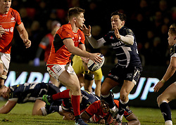 Saracens Owen Farrell makes a break during the European Champions Cup, pool three mach at the AJ Bell Stadium, Salford. PRESS ASSOCIATION Photo. Picture date: Sunday December 18, 2016. See PA story RUGBYU Sale. Photo credit should read: Richard Sellers/PA Wire