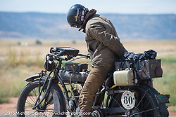 Shinya Kimura riding his Team-80 1915 Indian twin during the Motorcycle Cannonball Race of the Century. Stage-11 ride from Durango, CO to Page, AZ. USA. Wednesday September 21, 2016. Photography ©2016 Michael Lichter.