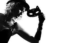 stylish silhouette caucasian beautiful woman sexy  attitude behavior clothes portrait on studio isolated white background