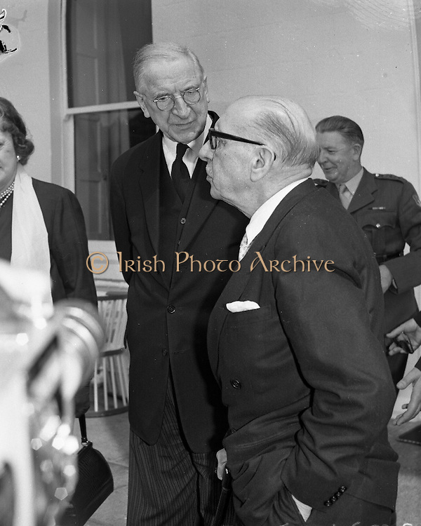 """World famous composer and conductor Igor Stravinsky, who is in Dublin to conduct the Radio Eireann Symphony Orchestra in his own work """"The Rites of Spring"""", visits President Eamon De Valera at Áras an Uachtarain..03.06.1963"""