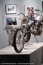 "Aki Sakamoto's Harley Davidson FLH in Michael Lichter's Motorcycles as Art annual exhibition titled ""The Naked Truth"" at the Buffalo Chip Gallery during the 75th Annual Sturgis Black Hills Motorcycle Rally.  SD, USA.  August 4, 2015.  Photography ©2015 Michael Lichter."