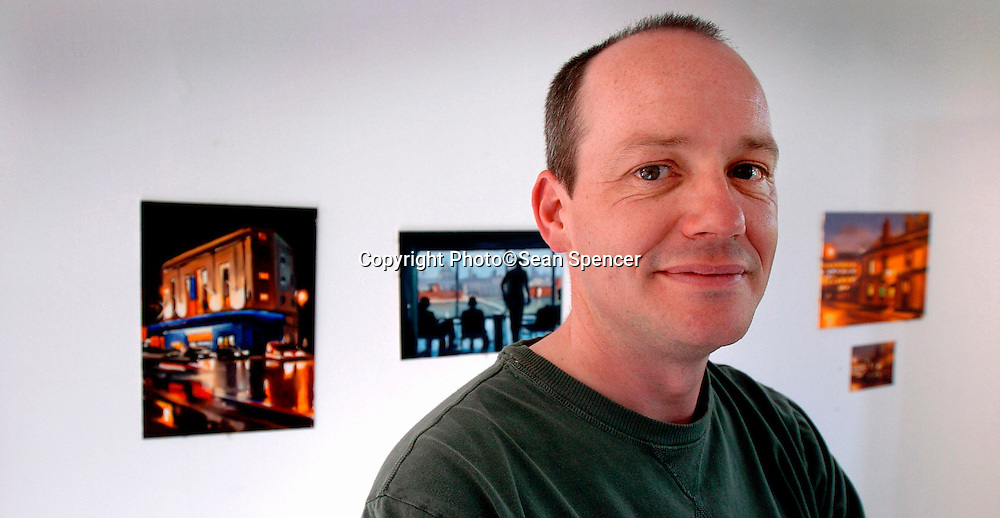 19 May 2005:<br /> Manchester artist Liam Spencer at his studio in Rossendale.<br /> Picture:Sean Spencer/hullnews.co.uk 01482 210267/07976 433960<br /> www.hullnews.co.uk<br /> ©Sean Spencer/Hull News & Pictures Ltd<br /> NUJ recommended terms & conditions apply. Moral rights asserted under Copyright Designs & Patents Act 1988. Credit is required. No part of this photo to be stored, reproduced, manipulated or transmitted by any means without permission.