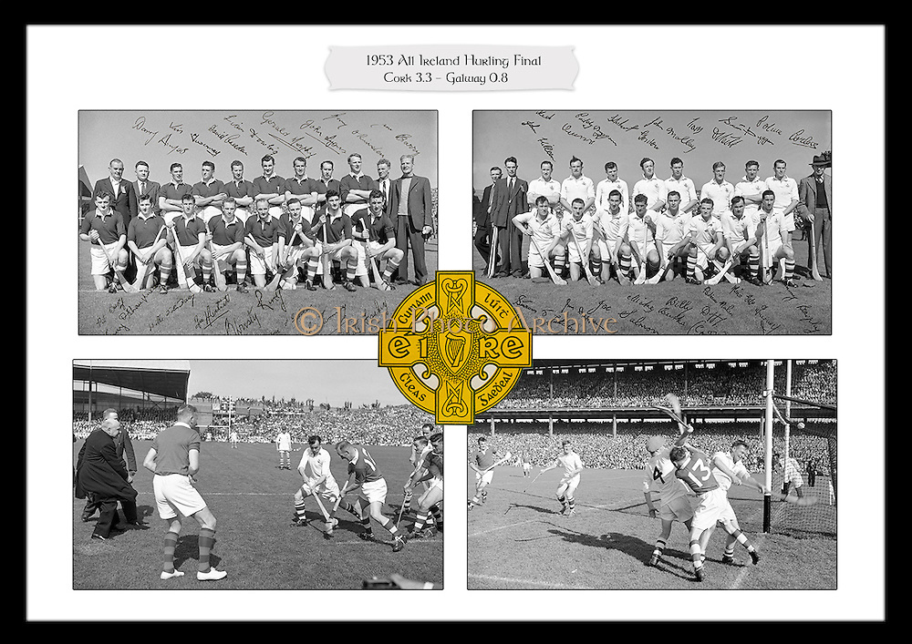 Collage of images from the 1953 All-Ireland Hurling Final between Cork and Galway, played at Croke Park on 6th September 1953.