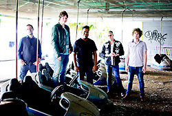 17 October 2013. Abandoned Six Flags, New Orleans, Louisiana. <br /> Terry McDermott and the Bonfires. <br /> L/R;  Richard Hyland, Terry McDermott, Eric Bolivar, Dave Rosser and Alex Smith.<br /> Photo; Charlie Varley