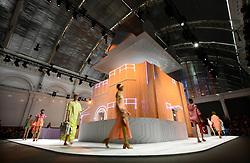 Models on the catwalk during the Anya Hindmarch  London Fashion Week SS18 show held at Freemasons Hall, London