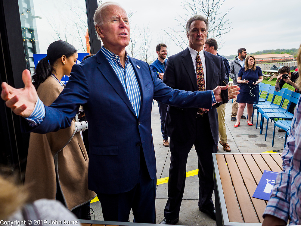 01 MAY 2019 - IOWA CITY, IOWA:  Former Vice President JOE BIDEN greets supporters who waited outside to see him after his speech during his campaign event in Iowa City. The event was held in microbrewery Biden is running to be the Democratic nominee for the US Presidency in 2020. He is campaigning in Iowa City and Des Moines today. Iowa traditionally hosts the the first selection event of the presidential election cycle. The Iowa Caucuses will be on Feb. 3, 2020.              PHOTO BY JACK KURTZ