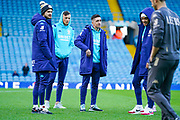Leeds United midfielder Pablo Hernandez (19), Leeds United defender Ben White (5), Leeds United midfielder Mateusz Klich (43), and Leeds United forward Helder Costa (17) arrives at the ground during the EFL Sky Bet Championship match between Leeds United and Cardiff City at Elland Road, Leeds, England on 14 December 2019.