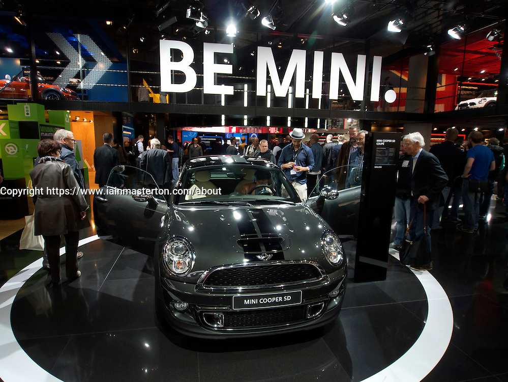 New Mini Coupe on display at Frankfurt Motor Show or IAA 2011 Germany