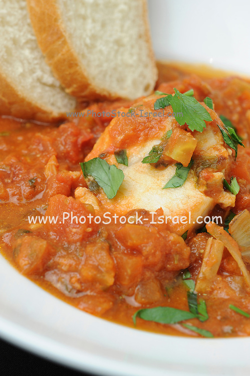 A serving of Haraime is a North African jewish speciality of fish cooked in tomato puree