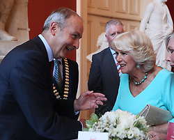 The Duchess of Cornwall speaks with the leader of Fianna Fail, Micheal Martin during a dinner at Crawford Art Gallery as part of her tour of the Republic of Ireland with the Prince of Wales. PRESS ASSOCIATION Photo. PRESS ASSOCIATION Photo. Picture date: Thursday June 14, 2018. See PA story ROYAL Charles. Photo credit should read: Brian Lawless/PA Wire