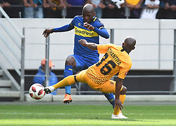 Cape Town-180915-  Cape Town City  defender Thami Mkhize wins a ball when challenged by Kaizer Chiefs Siphosakhe Ntiyantiya  in the ABSA Premiership clash at the Cape Town Stadium.City are trying to keep winning their home games and their position on the log.Photographs:Phando Jikelo/African News Agency/ANA