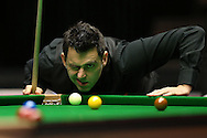 Ronnie O'Sullivan (Eng) lines up a shot. Ronnie O'Sullivan v Liang Wenbo, 1st round match at the Dafabet Masters Snooker 2017, day 1 at Alexandra Palace in London on Sunday 15th January 2017.<br /> pic by John Patrick Fletcher, Andrew Orchard sports photography.