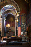 Interior of Armenian Cathedral of the Assumption of Mary. The cathedral is UNESCO site, historical monument. Built in XIV century.