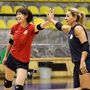 Vakifbank's Saori Kimura (L) during their Turkish Woman Volleyball friendly match Fenerbahce between  Vakifbank at Haldun Alagas Arena in Istanbul, Turkey on 05 October 2012. Photo by Aykut AKICI/TURKPIX
