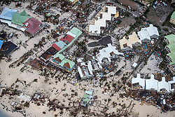 September 6, 2017 - Philipsburg, St Maarten - An aerial photograph provided by the Dutch Ministry of Defense shows the damage of Hurricane Irma on the Caribbean island of St. Maarten. Massive destruction of the historic district on the Dutch island of St Maarten in the wake of a direct hit by Hurricane Irma, a Category 5 storm lashing the Caribbean September 6, 2017 in Philipsburg, St. Maarten. Imra is packing winds of 185-mph making it the strongest hurricane ever recorded in the Atlantic Ocean. (Credit Image: © Gerben Van Es/Dutch Ministry of Defense/Planet Pix via ZUMA Wire)