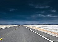 crossing dry lake bed 20 mi east of Fallon, Nevada on U.S. Route 50. a remnant of ancient Lake Lahontan   the loneliest road in America panorama