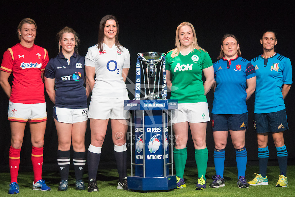 Hurlingham Club, London, January 27th 2016. Women's Captains, left to right, Rachel Taylor - Wales, Lisa Martin - Scotland, Sarah Hunter - England, Niamh Briggs  - Ireland, Gaëlle Mignot - France and Itally's Sara Barattin line up with their tournament trophy at the launch of the RBS Six Nations Rugby Tornament. ///FOR LICENCING CONTACT: paul@pauldaveycreative.co.uk TEL:+44 (0) 7966 016 296 or +44 (0) 20 8969 6875. ©2015 Paul R Davey. All rights reserved.