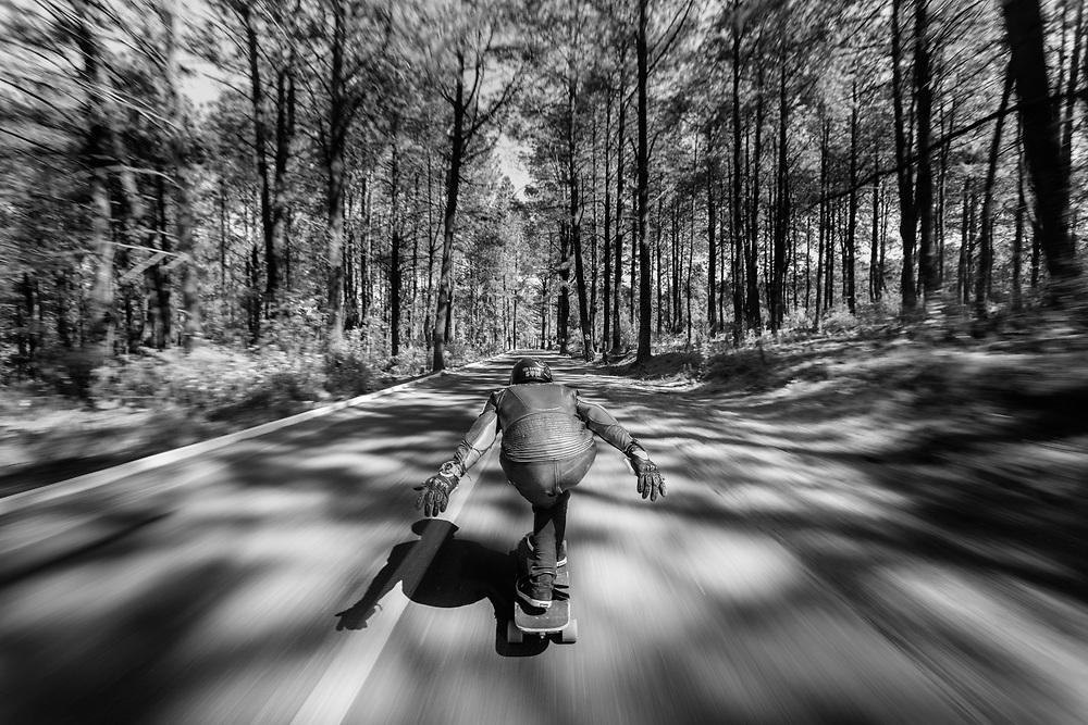 """Gerardo Moreno riding fast down La Malinche on a longboard. <br /> Client/Project: Casio G-Shock / """"G-Shock Vs Earth"""""""