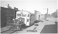 RGS Goose #5 at Dolores depot.  Boxcar #3488 and granary are in background.<br /> RGS  Dolores, CO  Taken by Peyton, Ernie S. - 6/1946